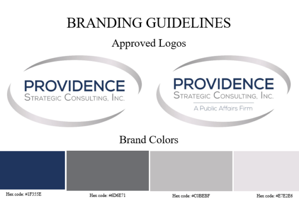 A graphic with the Providence Strategic Consulting logos and the brand colors