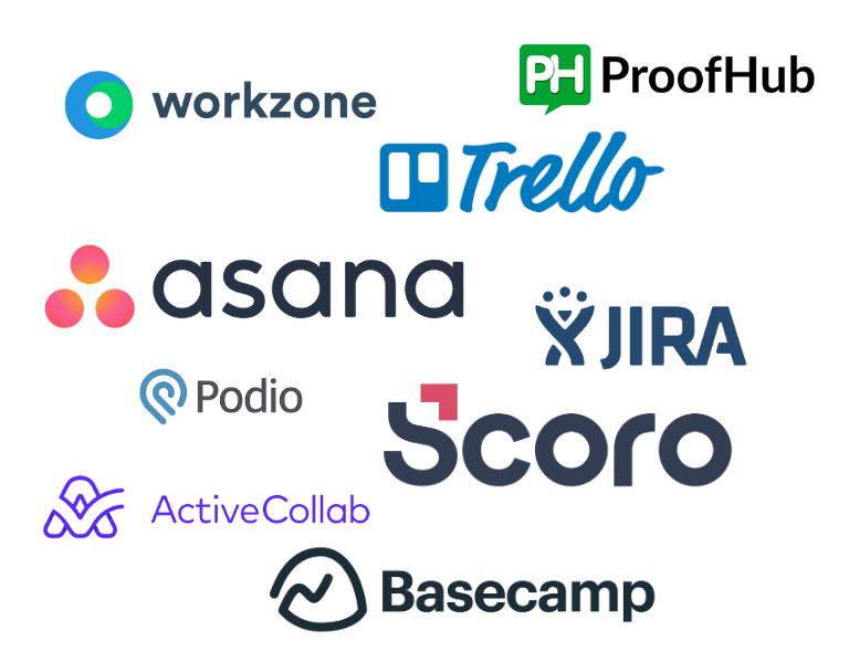 A collage of logos for popular project management software